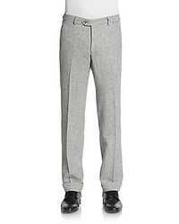 Grey Herringbone Dress Pants