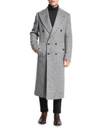 Michael Kors Michl Kors Herringbone Double Breasted Wool Coat Ash Melange