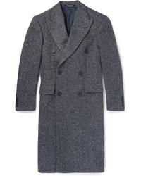Richard James Slim Fit Herringbone Wool Blend Overcoat