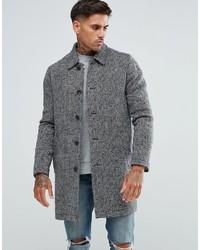 Asos Wool Mix Trench Coat In Gray Herringbone