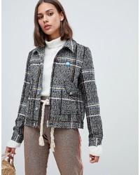 Maison Scotch Short Wool Worker Jacket In Check