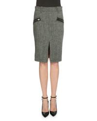 Grey Herringbone Pencil Skirt