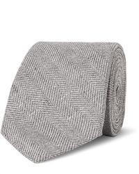 Brunello Cucinelli 7cm Slub Herringbone Linen Virgin Wool And Silk Blend Tie