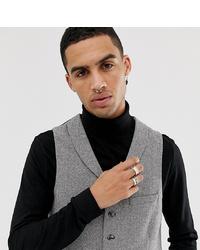 Heart & Dagger Slim Fit Suit Waistcoat In Grey Herringbone