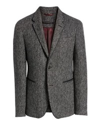Grey Herringbone Wool Blazer