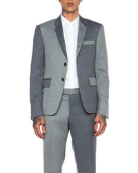 Thom Browne Fun Mix Herringbone Wool Blazer In Navy Grey