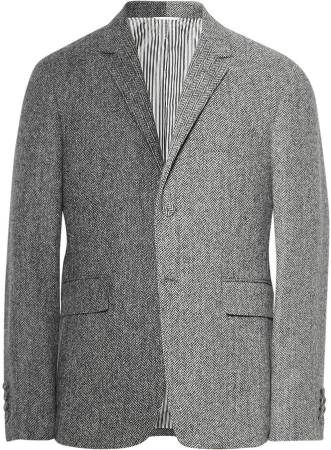 Thom Browne Grey Slim Fit Herringbone Wool Tweed Suit Jacket