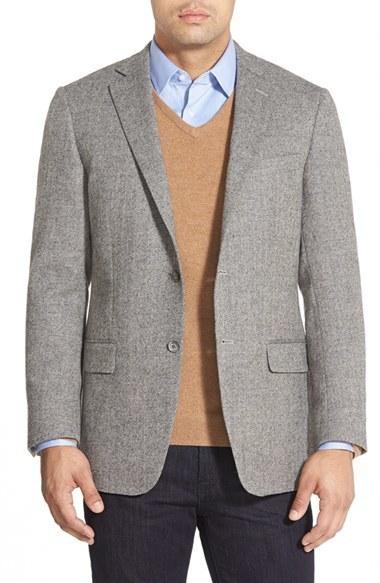 Hart Schaffner Marx New York Classic Fit Herringbone Sport Coat