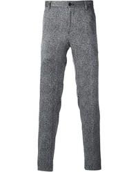 Grey Herringbone Wool Dress Pants