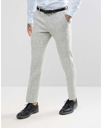 Asos Slim Suit Pants In 100% Wool Harris Tweed Herringbone In Light Gray