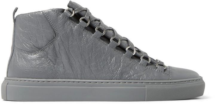 Arena Creased-leather High-top Sneakers Balenciaga Tjxe5dVcl