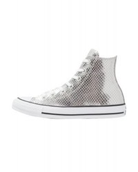 Converse Chuck Taylor All Star Metallic Snake Leather High Top Trainers Silverblackwhite