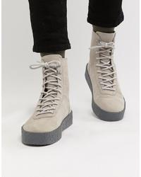 ASOS DESIGN High Top Hiker Trainers In Grey