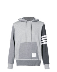 Thom Browne Hoodie Pullover With Tonal Fun Mix In Classic Loop Back With Engineered 4 Bar