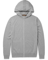 Loro Piana Cotton And Cashmere Blend Zip Up Hoodie