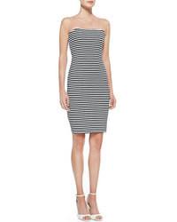 Grey Horizontal Striped Bodycon Dress