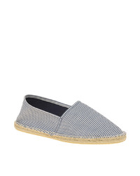 Grey Horizontal Striped Canvas Espadrilles