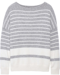 Grey Horizontal Striped Crew-neck Sweater