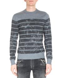 Floral print stripe sweater gray medium 333396