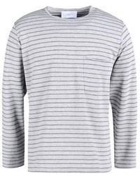 Grey Horizontal Striped Long Sleeve T-Shirt