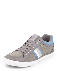 Grey Horizontal Striped Low Top Sneakers
