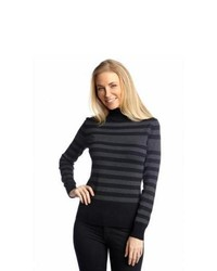 Grey Horizontal Striped Turtleneck