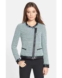 Harmonia leather trim stripe tweed jacket medium 31266