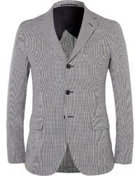 Mp massimo piombo slim fit houndstooth cotton and linen blend blazer medium 411709