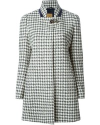 Fay Houndstooth Buckled Detail Coat