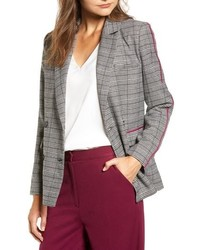 Grey Houndstooth Double Breasted Blazer