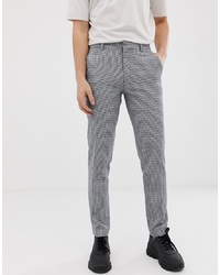 ASOS DESIGN Skinny Smart Trousers In Navy Puppy Tooth