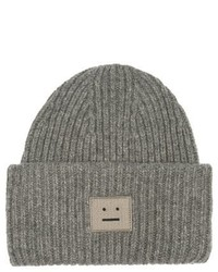Acne Studios Pansy Ribbed Knit Wool Beanie Hat