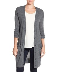 Petite halogen rib knit wool blend cardigan medium 757407