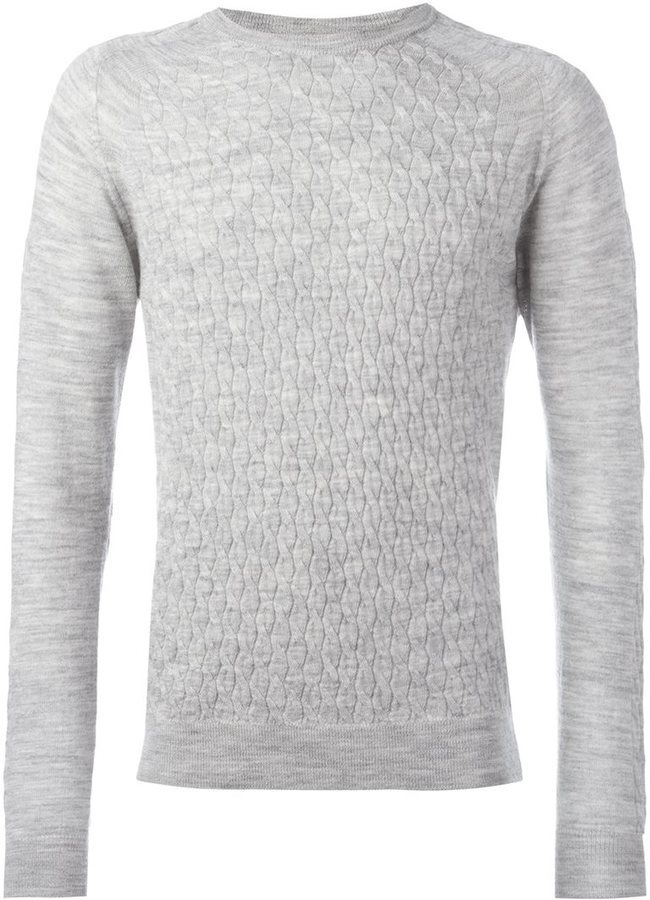 8726b8cdf52a ... Grey Knit Crew-neck Sweaters Lanvin Cable Knit Jumper