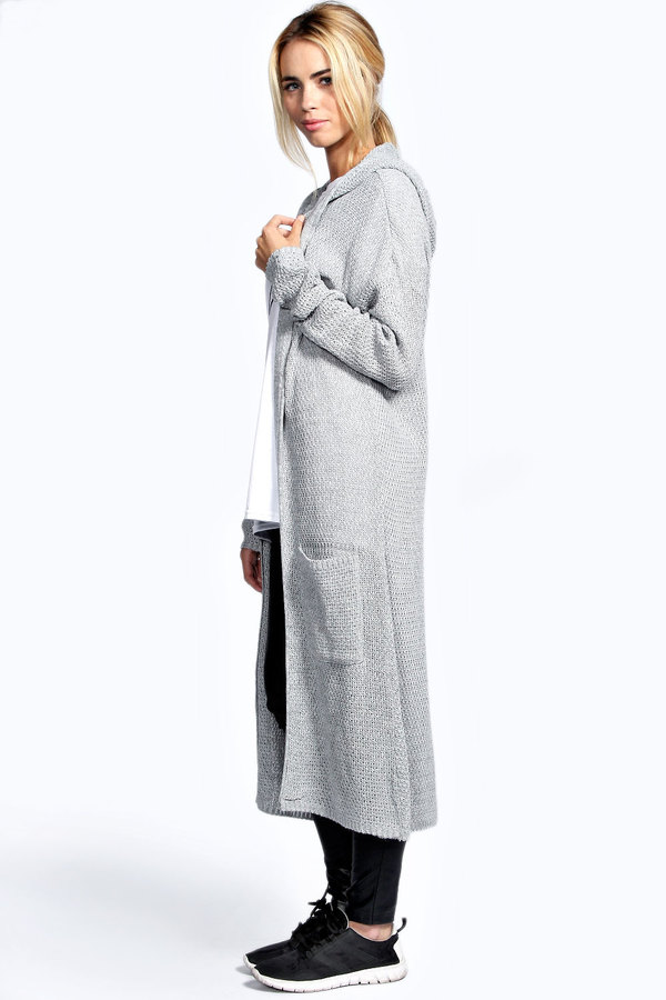 Boohoo Lily Loose Knit Hooded Maxi Cardigan | Where to buy & how ...