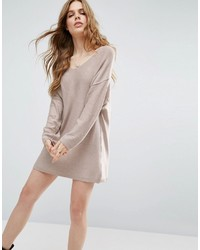 Asos Knitted Sweater Dress With Reversable V