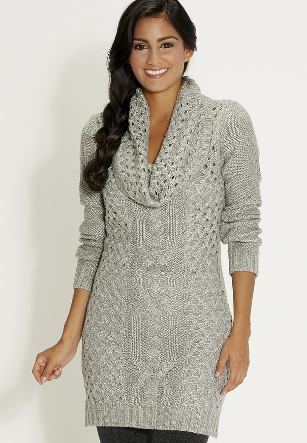 Maurices Cable Knit Sweater Dress With Cowl Neck In Gray Where To