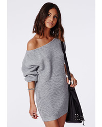 Missguided Off Shoulder Knit Sweater Dress Grey