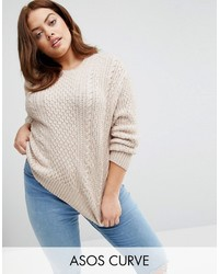 Asos Curve Curve Cable Sweater In Slouchy Shape