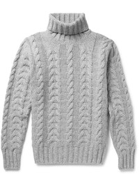 Hackett Cable Knit Wool And Cashmere Blend Rollneck Sweater