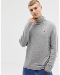 Hollister Icon Logo Lightweight Knit Roll Neck Jumper In Light Grey