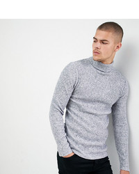 Siksilk Knitted Roll Neck Jumper In Grey To Asos