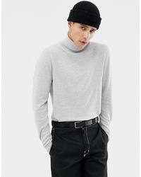 Jack & Jones Premium Knitted Roll Neck With Contrast Cuff Tipping In Cashmere Mix