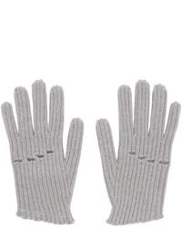 Grey Knit Wool Gloves