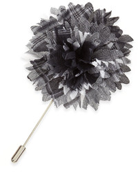 Plaid flower lapel pin graywhite medium 178828