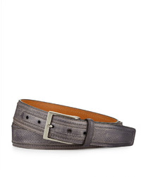 Neiman Marcus Perforated Leather Belt Gray