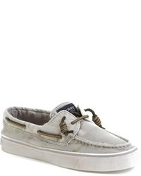 Grey Leather Boat Shoes
