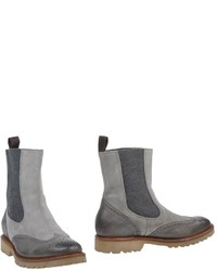 Grey Leather Chelsea Boots