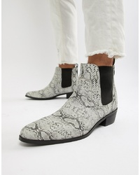 House of Hounds Onyx Cuban Boots In White Snake Print Leather