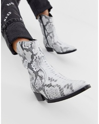 Bronx Snake Print Leather Western Boots